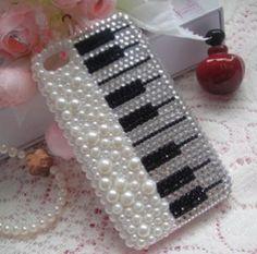 Pearl Diamond Piano DIY deco phone case kit  deco case kit diy(Phone Case not Included)