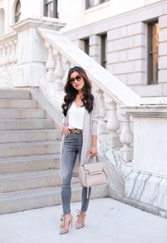 petite style blog high waist jeans long cardigan