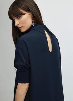 Camisa fluida con cuello perkins