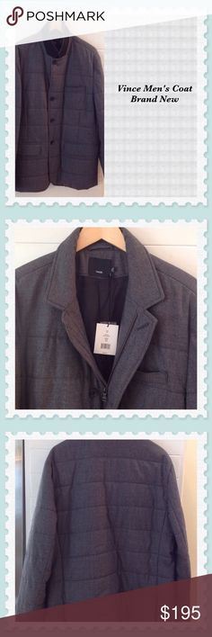 """Vince """"BRAND NEW"""" Men's Coat VINCE Men's Gray Quilted Coat.   Zips and buttons.  Length is 32 inches.  95% Wool.  Dry Clean.  Beautiful gift for someone special.  🎀🎀🎀🎀🎀🎀🎀 Vince Jackets & Coats Lightweight & Shirt Jackets"""