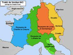 1° partage de l'Empire d'Occident par le traité de Verdun (843)- TRAITE DE VERDUN, 2) LE PARTAGE DE VERDUN ET LES AJUSTEMENTS ULTERIEURS, 2: LOTHAIRE 1°, à qui échoit le titre impérial, reçoit la Francie médiane, du centre de l'Italie à la Frise. LOUIS LE GERMANIQUE reçoit la Francie orientale (communément appelée Germanie, noyau du futur Saint Empire Romain Germanique).