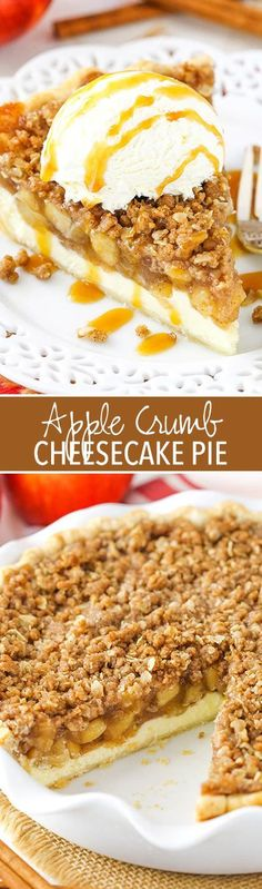 Apple Crumb Cheeseca Apple Crumb Cheesecake Pie - delicious layers of homemade apple pie filling cheesecake and oatmeal crumb! Great for the holidays! Apple Desserts, Apple Recipes, Just Desserts, Baking Recipes, Delicious Desserts, Yummy Food, Fall Desserts, Apple Crumb Cheesecake, Cheesecake Pie