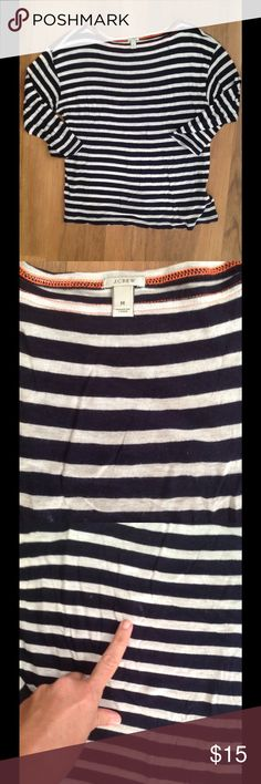 🔵 4 for $20 J. Crew Striped Tee This white and navy blue striped tee is super soft and super comfy. It. Has 3/4 sleeves. There is minor pilling and a small spot that you can see in the 3rd photo. Bundle four items with a blue dot and offer $20! J. Crew Tops Blouses