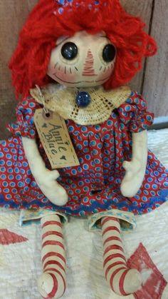 Primitive Rustic Handmade Grungy Folk Art (Annie Blue) Raggedy Ann Doll OOAK #NaivePrimitive #Debbie