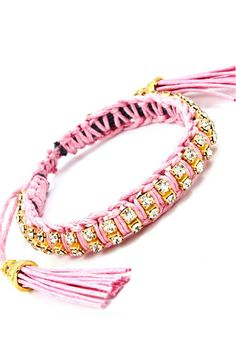 We love this twist on the traditional 'shamballa' style bracelet.