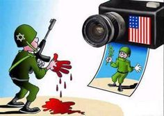 Israeli covered in Palestinian blood and the media in the U.S.