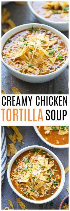 Healthy Creamy Chicken Tortilla Soup