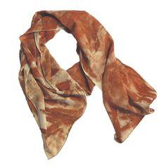 "Leaf Print Silk Scarf 28, matte crepe de chine, 13"" x 70"""