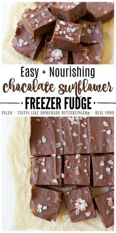 This easy nourishing Chocolate Sunflower Freezer Fudge is naturally sweetened, simple to make, full of real food ingredients and tastes like homemade Butterfinger®️ in fudge form! | Recipes to Nourish // Healthy Fudge | Paleo | Real Food | Primal | Gluten Free | Grain Free | Dessert | Holiday Candy | Homemade Candy via @recipes2nourish