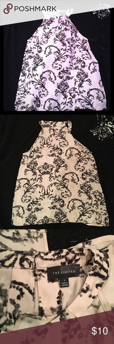 ✨the Limited drapy, elegant top Beautiful baby pink and black sleeveless top, worn once. 100% polyester, bottom closure on back. Very comfy, can be dressed up or cute with skinny jeans. The Limited Tops Tank Tops