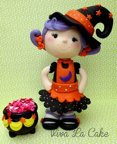 Fondant  Halloween Witch cake topper and decorating cake set