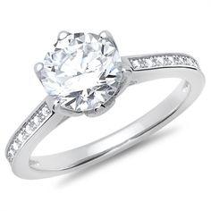 Sølvring med zirkoniaer fra Bartoli. Kan bruges som almindelig ring eller som forlovelsesring.