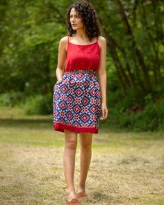 Shop online Cherry red and blue telia rumal ikat dress Cherry red and blue telia rumal dress crafted in double ikat cotton. Frock Fashion, Indian Fashion Dresses, Indian Designer Outfits, India Fashion, Frock Dress, Buy Dress, Casual Frocks, Casual Outfits, Cotton Frocks For Kids