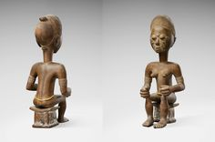 """It took about 4 years to gather the 18 seated statues from the Baule tribe, presented by Bernard de Grunne at TEFAF Maastricht 2016.   As Baule artists never signed their works, De Grunne named the seven identified Baule """"Masters"""" after famous collectors and dealers.   The """"Ascher"""" Master, a reference to renowned dealer Ernst Ascher, defines a corpus of 12 figures. These statues have high coiffures, finely carved, with some deep red patina and an intense facial expression."""