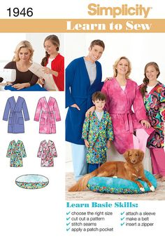 """simplicity's learn to sew pattern collection. child's, teen's and adults' robe and pet bed.<p>note: if used as sleepwear, use fabrics & trims that meet the flammability standards set by the u.s. government.</p><br/><br/><img src=""""skins/skin_1/images/icon-printer.gif"""" alt=""""printable pattern"""" /> <a href=""""#"""" onclick=""""toggle_visibility('foo');"""">printable pattern terms of sale</a><div id=""""foo"""" style=""""display:none;"""">digital patterns are tiled and labeled so you can print and assemble in the…"""