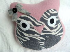Owl Pillow Handcrafted from Upcycled Sweaters by miraclemittens, $28.00/VERY CUTE WITH THE LITTLE BOW!