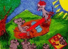 ACEO ATC See Saw Margery Daw mice sandbox Mousery Rhyme Original Cartoon #whimsical   #aceo #art #eBay #seesaw-margery-daw #nursery-rhyme #mice