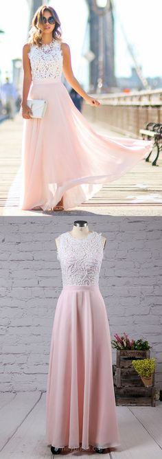 Glamorous Pink Prom Dresses,A-line Scoop Neck Lace Formal Dresses,Chiffon Long Evening Gowns,Beading Women Party Dress