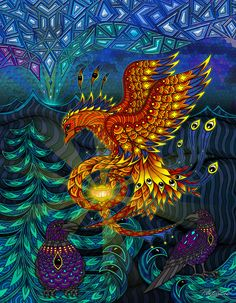 The Phoenix -Zentangle type art by phil lewis, he also has 2 awesome coloring books in this style.