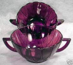 purple depression glass | Purple AMETHYST Depression Glass NEWPORT Bowl HAIRPIN Completed