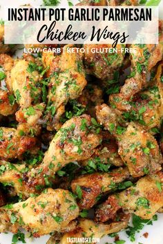 These Instant Pot Garlic Parmesan Chicken Wings are an amazing appetizer recipe! Crispy and golden chicken wings, with no frying! Plus the cheesy garlic flavor is a delicious, kid-friendly combination. Chicken Drumstick Recipes, Chicken Wing Recipes, Recipe Chicken, Instant Pot Drumstick Recipe, Instant Pot Wings Recipe, Amazing Chicken Recipes, Chicken Drummettes Recipes, Steak Recipes, Best Appetizers