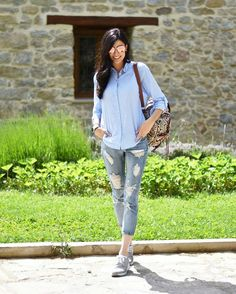 La #blogger Claudia Peris apuesta por unas #sneakers plateadas para un #look 100% trendy