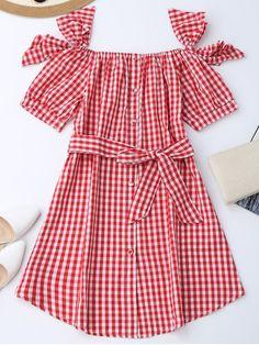 Off Shoulder Bowknot Plaid Dress With Belt - RED M