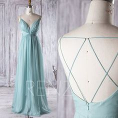 2016 Light Teal Chiffon Bridesmaid Dress V Neck von RenzRags