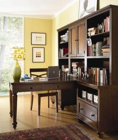 Home Office   Love The Dark Wood Against The Buttery Yellow.