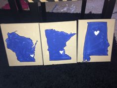 States painted on canvas. Places I've lived! Alabama, Wisconsin and Minnesota. Hearts are the cities.