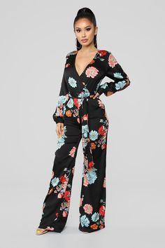 3c6270df71f Vibes In The Garden Floral Jumpsuit - Black Multi