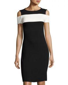 Colorblock Cold-Shoulder Dress, Black/White