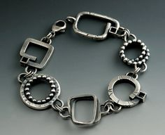 Big Chunky Bracelet Rustic Links of Handmade One of a Kind Shapes Blackened