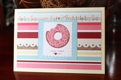 Handmade Card, Donut Forget I Love You, Stripes, Heart, Love ,Blank Inside, Free US Shipping, Unique, One of a Kind by TresorValeur on Etsy