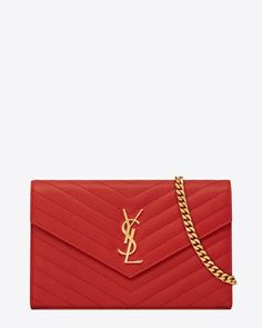 saintlaurent, Monogram Saint Laurent Chain Wallet in Lipstick Red Grain de Poudre Textured matelassé Leather