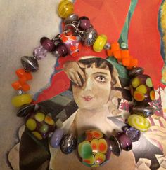 Colorful beaded Bracelet Fun unique Lampwork by TobysArtwear