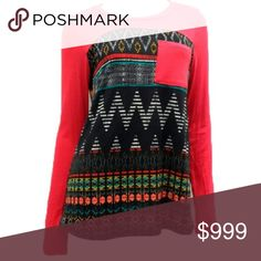 . Coming soon!  Red Tribal Contrast Pocket Top Beautiful tribal print top with a pop of color! Soft and comfortable. 95% polyester 5% spandex. Made in the USA. The Blossom Apparel Tops Tees - Long Sleeve