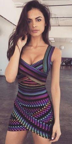 Rainbow Bandage Dress Source
