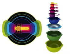 The Nest™ 9 Plus from JosephJoseph consists of 5 measuring cups, 1 small non-slip mixing bowl with measurements, 1 stainless-steel mesh sieve, 1 colander/strainer and 1 large non-slip mixing bowl .Th innovative design allows the individual elements within each set to be stacked together, thereby occupying the absolute minimum amount of space.  Price: $55.00 – www.josephjoseph.com