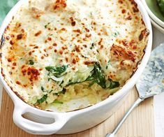 Potato, spinach and tuna bake recipe - By Woman's Day, With golden parmesan and a zesty tuna sauce this hearty bake will warm your family on cold winter nights. Salmon Recipes, Fish Recipes, Seafood Recipes, Vegetarian Recipes, Healthy Recipes, Xmas Recipes, Broccoli Recipes, Cauliflower Recipes, Simple Recipes