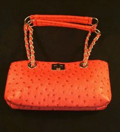 PINK FAUX LEATHER PURSE HAND BAG METAL CHAIN STRAPS #Unbranded #PURSEHANDBAG
