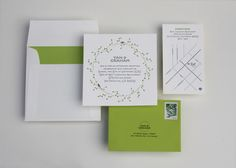 green white nature inspired letterpress wedding invitations 500x357 Yan + Grahams Nature Inspired Destination Wedding Invitations