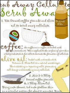 Coffee & Olive Oil ~ to scrub away Cellulite :) Diy Body Wash, Smooth Legs, Fitness Challenges, 30 Day Workout Challenge, Innovative Ideas, Personal Hygiene, Baby Body, Body Treatments, Beauty Recipe
