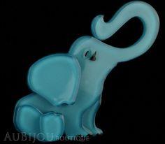 Erstwilder Brooch Pin Eli the Elephant Blue