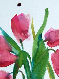 Pink Tulips original watercolor floral painting by Angela Moulton 5 x 7 with 8 x 10 mat prattcreekart