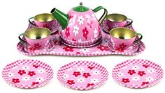 Flower Springtime Children's Kid's Full Metal Durable Pretend Play Toy Tea Set W/ Cups, Tea Pot, Plates, Tray (Styles May Vary), 2015 Amazon Top Rated Dishes & Tea Sets #Toy