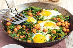 Türkische Spinat-Eierpfanne Pro Portion: 210 kcal; 17 g F, 12 g E, 5 g KH