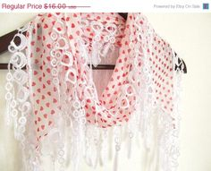 ON SALE heart scarf  scarf accessories chiffon scarf by ScarfsSale, $8.00