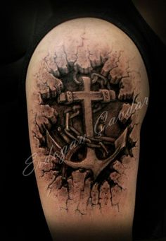 Skin rip 3D tattoo, anchor under skin