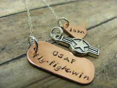 Air Force Love - hand stamped necklace.